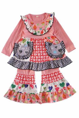 Valentine's Pink Heart Mixed Print Bell Set - ARIA KIDS
