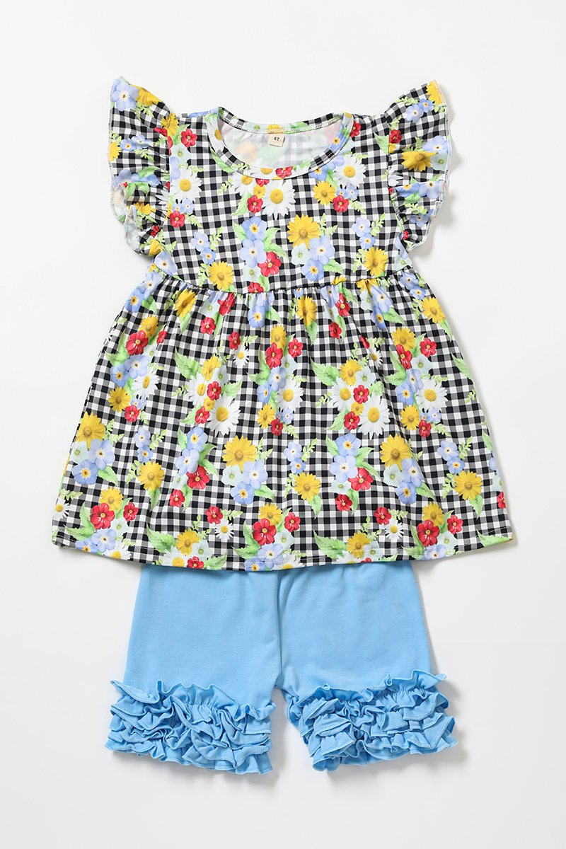 Gingham floral blue ruffle shorts set