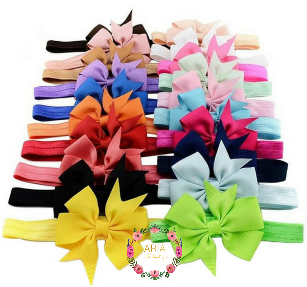 Baby Bow Headbands - Set of 20 colors - ARIA KIDS
