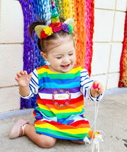 Striped Rainbow Pocket dress - RTS - ARIA KIDS