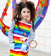 Rainbow Striped Pocket Long Sleeve Dress - ARIA KIDS