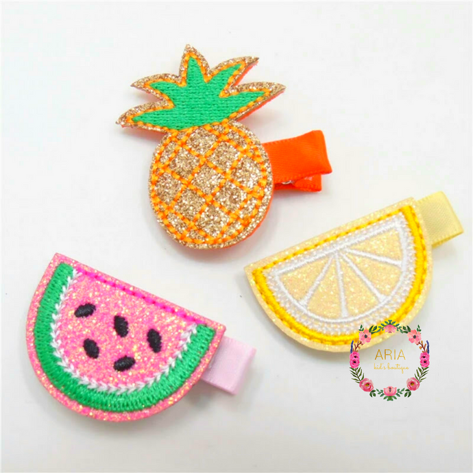 Summer Embroidered Hair Clips - Set of 3 - ARIA KIDS