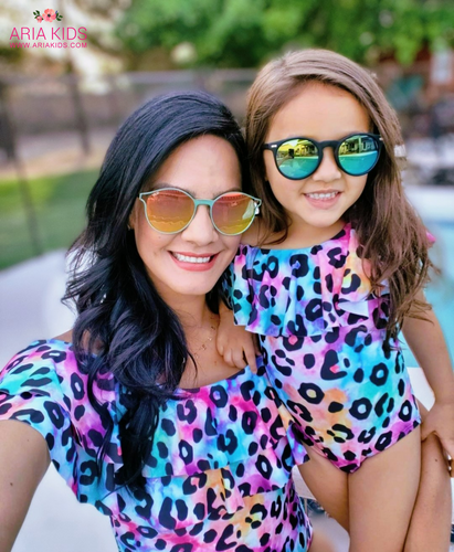 Mommy & Me Rainbow Tie Dye Leopard Swimsuit - ARIA KIDS