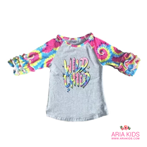 Tie Dye Wild Child Ruffle Shirt - ARIA KIDS