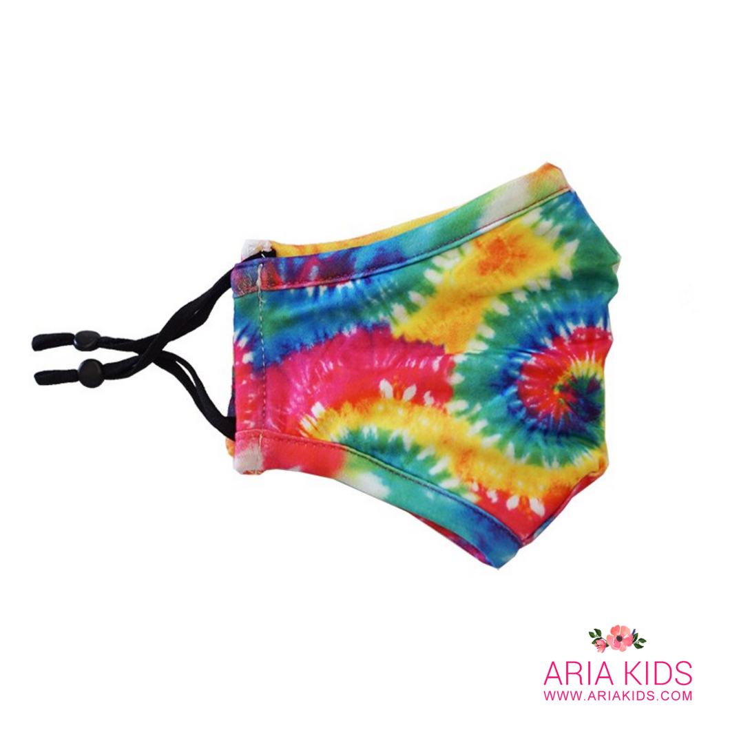 Bright Tie Dye Twirl Rainbow Face Mask - Adult - ARIA KIDS