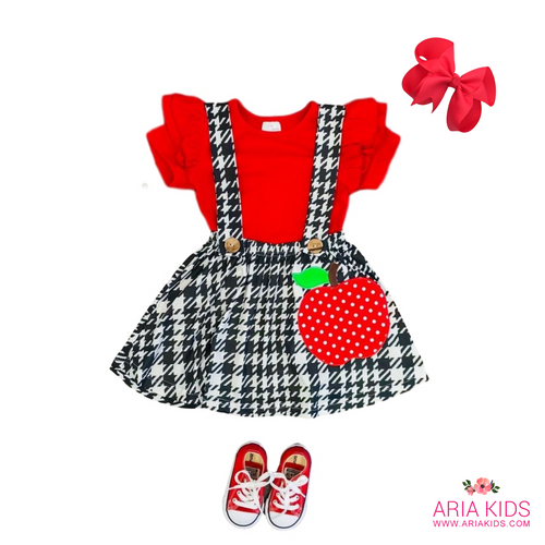 Apple Houndstooth Suspender Back to School Outfit - ARIA KIDS