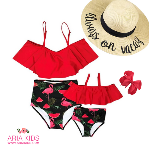 Mommy & Me Flamingo 2-Piece Ruffle High Waist  Swimsuit - ARIA KIDS