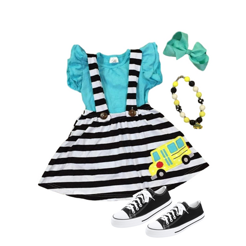 Blue Shirt & School Bus Striped Suspender Skirt - ARIA KIDS
