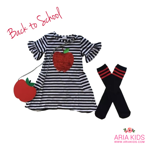 Flip Sequins Apple Stripe Dress Back to School 3-Piece Outfit - ARIA KIDS