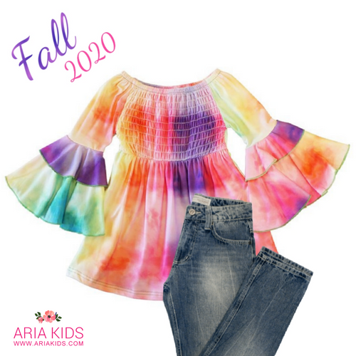 Bonnie Bell Sleeve Rainbow Tie Dye Tunic Dress - ARIA KIDS