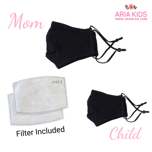 Mommy & Me - Classic Black Face Mask (Filter Included) - ARIA KIDS