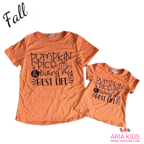 Mommy & Me Pumpkin Spice Shirt - Orange / Black - ARIA KIDS