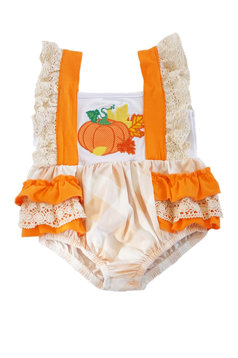 Orange Plaid Pumpkin Baby Romper - ARIA KIDS