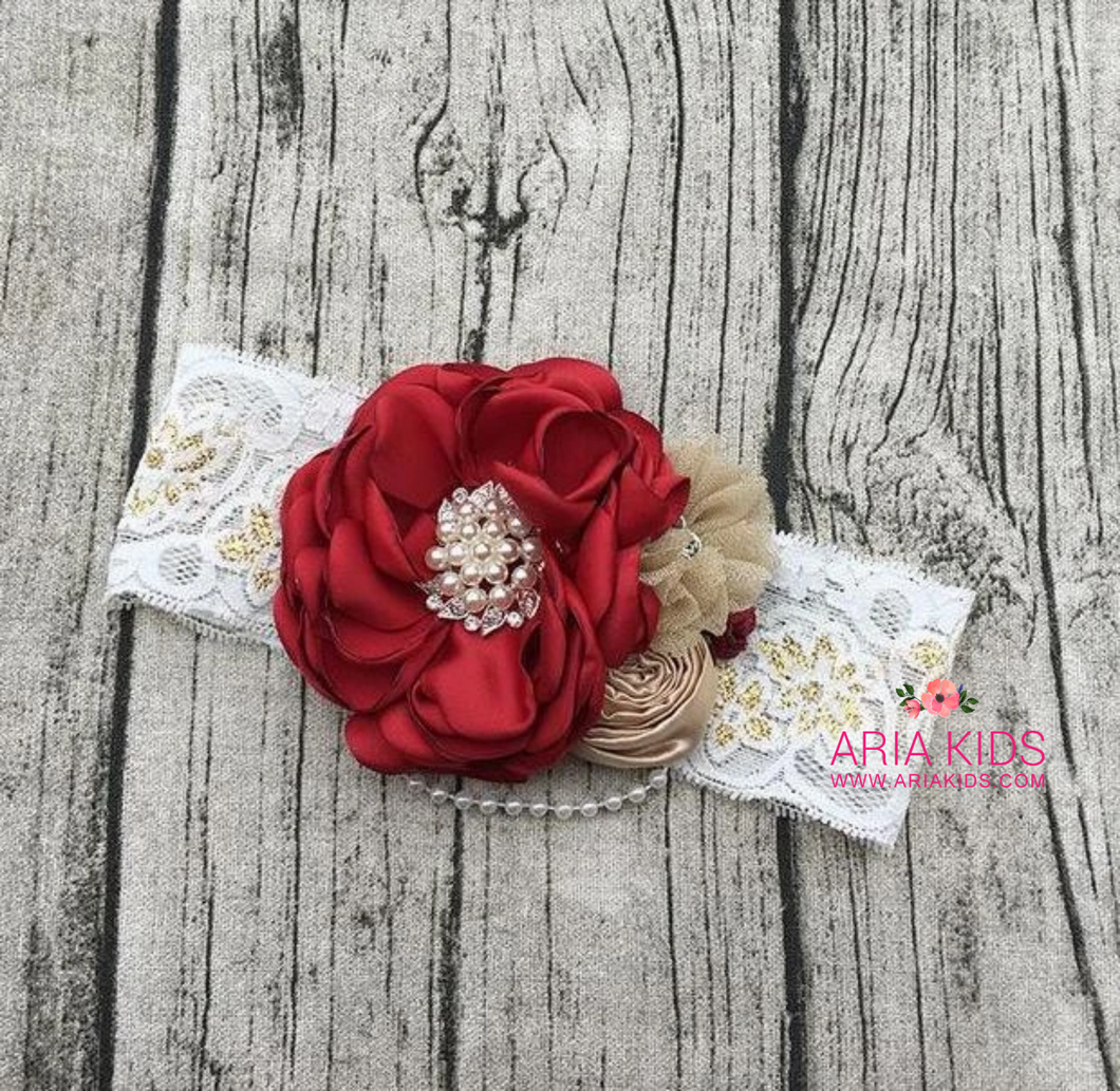 Red Rose Pearl Lace Headband - 3 sizes - ARIA KIDS