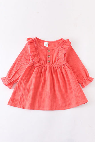 Coral linen cotton button front ruffle dress - ARIA KIDS