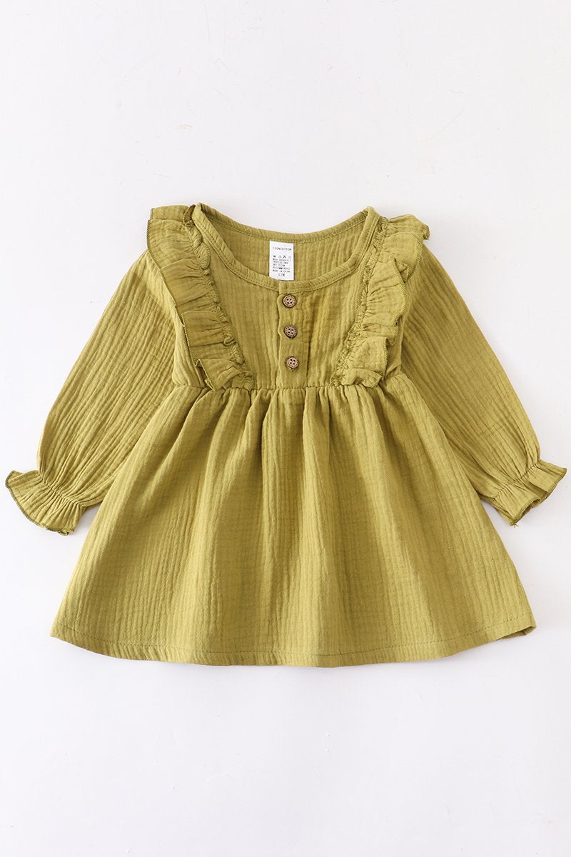 Olive linen cotton button front ruffle dress