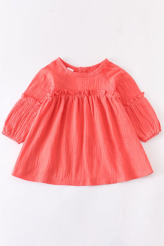 Linen cotton coral ruffle dress