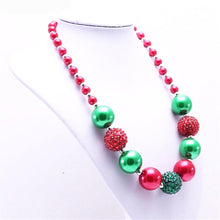 Red/Green Christmas Chunky Necklace Girl's Holiday Gift - ARIA KIDS
