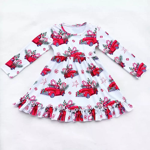Christmas Tree Truck Candy Cane Dress: Pre-order (FREE 5