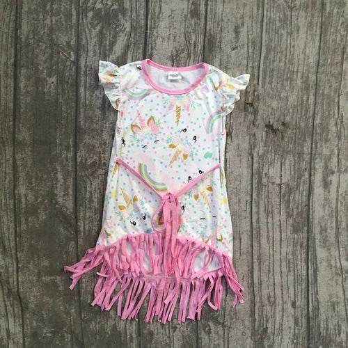 Pastel Unicorn Fringe Dress - ARIA KIDS