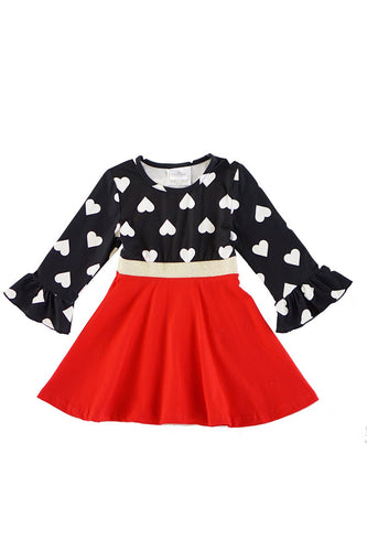 Heart Printed Bell Sleeve Dress - ARIA KIDS