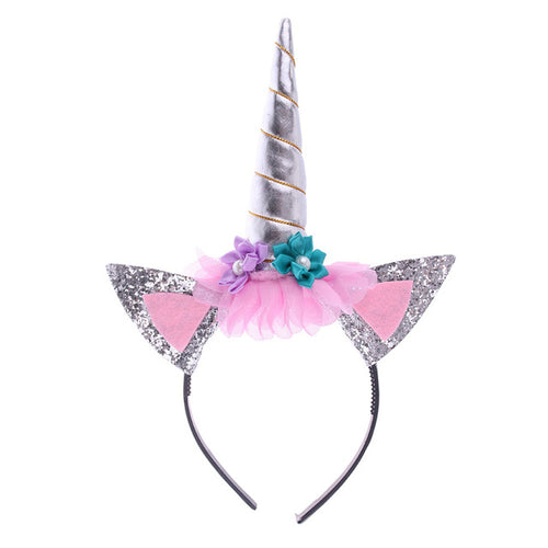 Silver Unicorn Floral Headband with Glitter Ears - ARIA KIDS