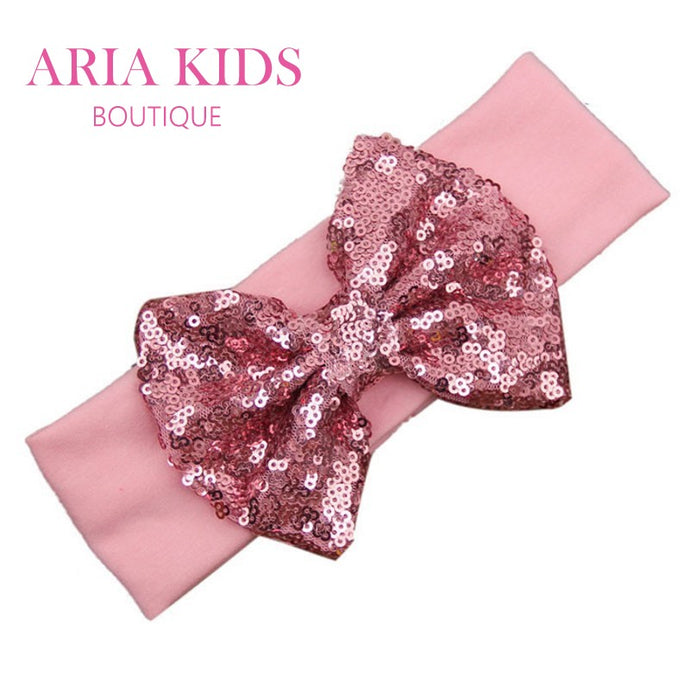 Pink/Pink Baby Sequin Bow Headband - ARIA KIDS