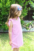 July Tie Knot Dress in Red and Blue - ARIA KIDS