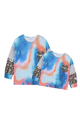 Blue coral leopard mommy & me shirt - ARIA KIDS