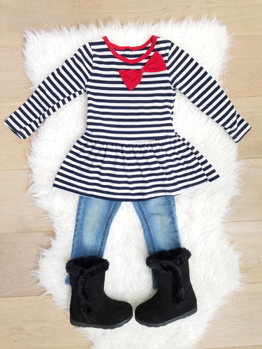 Cassie Navy/White Stripe Red Bow Tunic Dress - ARIA KIDS