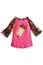 Pencil Applique Leopard Raglan Shirt - ARIA KIDS