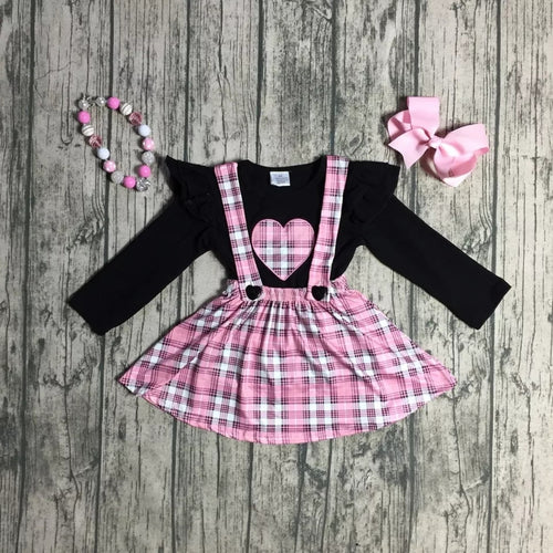 Pink Heart Plaid Suspender Skirt 4-Piece Set (with accessories) - ARIA KIDS