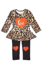 Leopard peplum top with heart pants set CKTZ-204014 sale - ARIA KIDS