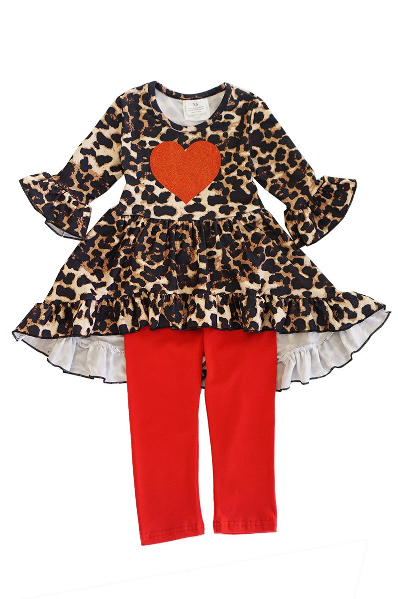 Cheetah Love Ruffle Pant 2-Piece Outfit - ARIA KIDS