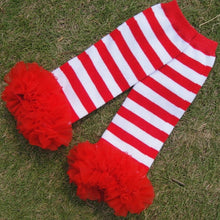 Red/White Striped Baby Leg Warmers 3M - 24M - ARIA KIDS