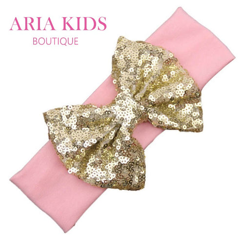 Pink/Gold Baby Sequin Bow Headband - ARIA KIDS