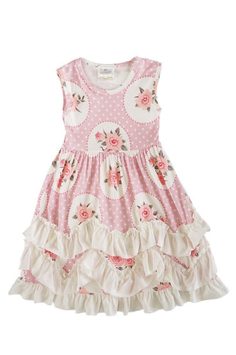 Vintage Rose Pink Ruffle Dress - ARIA KIDS