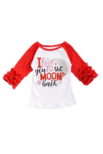 I Love You To The Moon & Back Ruffle Shirt - ARIA KIDS