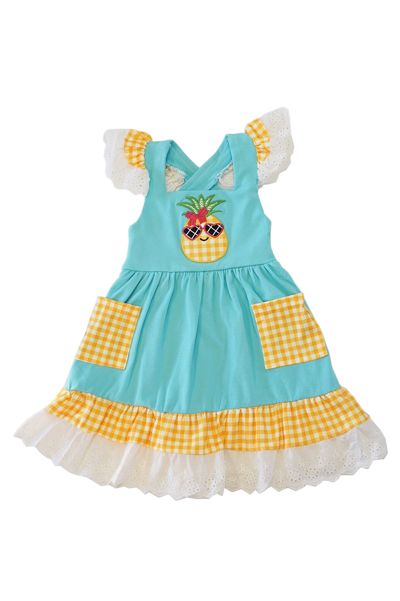 Pineapple Applique Ruffle Lace Dress - ARIA KIDS