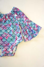 Mermaid scale bell sleeve baby romper