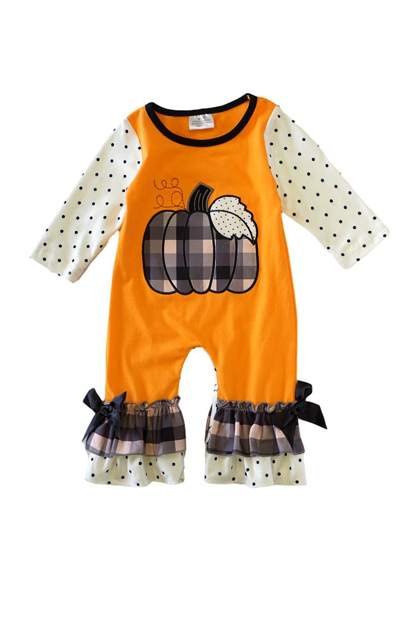 Pumpkin applique orange baby romper - ARIA KIDS