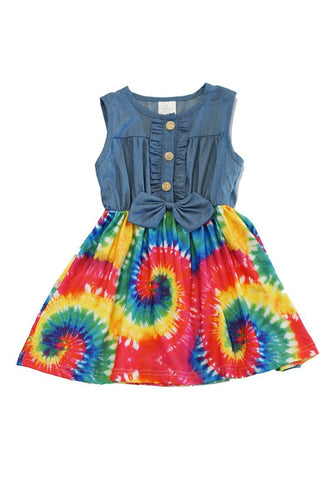 Bright Twirl Tie Dye Denim Dress - ARIA KIDS