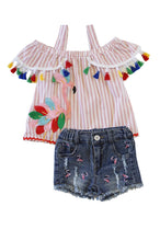 Flamingo Rainbow Tassels Top & Denim Shorts Set - ARIA KIDS