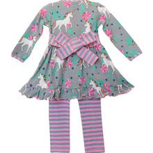 """Peyton"" Unicorn and Rainbows Stripe Cotton Dress Outfit - ARIA KIDS"