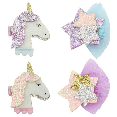 Unicorn + Star Glitter Hair Clip - Set of 4 - ARIA KIDS