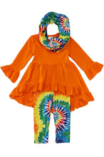 Orange tie dye scarf high low tunic 3 pcs set - ARIA KIDS
