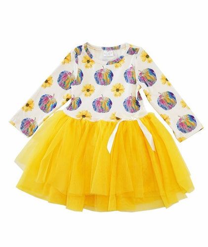 Rainbow Tie Dye Pumpkin Tutu Dress - ARIA KIDS