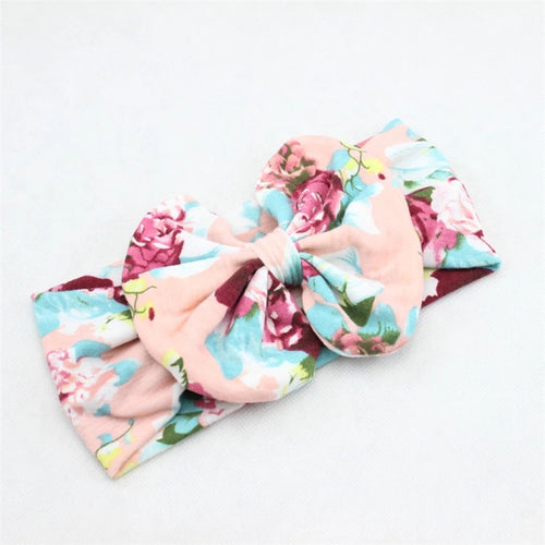 Floral Big Bow Headband - Peach Multi - ARIA KIDS