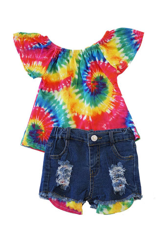 Bright Twirl Tie Dye Top & Shorts Set - ARIA KIDS