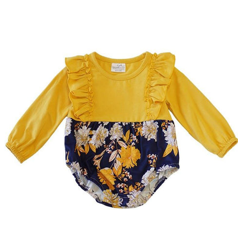 Floral Baby Romper - Yellow & Navy - ARIA KIDS